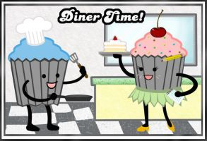 Diner Time Cupcakes by chat-noir