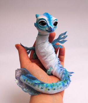 Blue Babywaterdragon, Poseable art doll by FellKunst