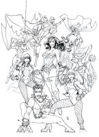 Women of the JLA line art by DragonArcher