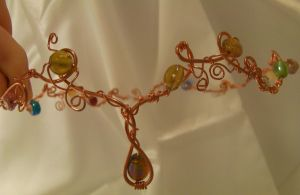 Copper Wire Wrapped Beaded Circlet by cunningcatcrafts