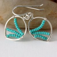 Tiny Bead Wrapped Earrings by DesignsbyElenaMarie