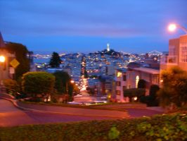 Going Down Lombard At Night by dirtycar74