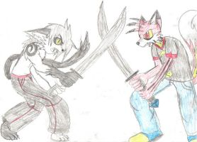 Two Half Demons Fighting by MikeyTheFox