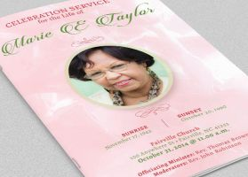 Pink Roses Funeral Program Template by Godserv
