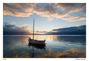Boat at sunset 3 by Maciej-Koniuszy
