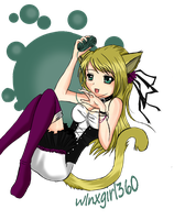 Anime Cat Girl Coloured by AngecondaBite