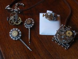Steampunk Jewelry, First Batch by GildedGears