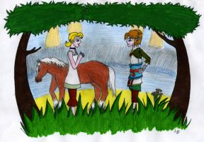 Link, llia and Epona by Luifex