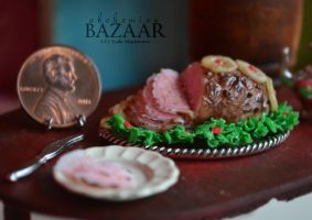 Honey Glazed Ham 1:12 Scale by abohemianbazaar