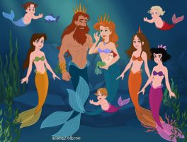 Triton and Athena with Family by NzuriNyota