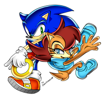 Sonic and Sally Adventure by Drawloverlala