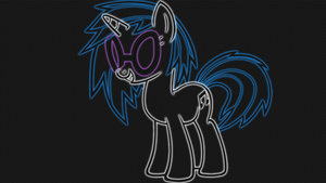 Vinyl Scratch - LineArt Neon-Glow Wallpaper by GT4tube