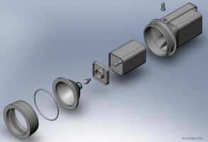 Flashlight, exploded view by bigblued