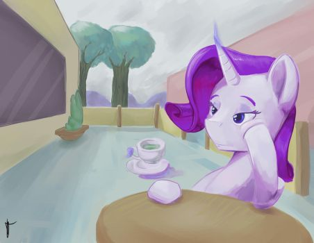 Rarity at the cafe (reward) by double-ZR-tap