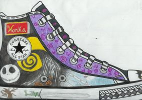 Tim Burton Tribute Shoe by Mrs-Scissorhands