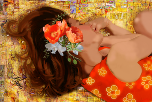 Girl on Yellow Quilt by famoore