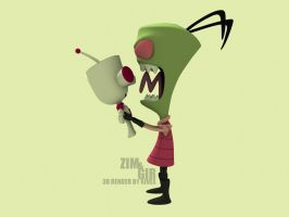 Invader Zim and Gir render by Kivex