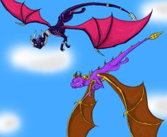 Spyro and Cynder by TigeraRainbowra