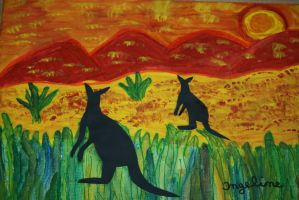 kangaroos in sunset by ingeline-art