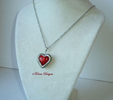 Heart Container S Glass Pendant Necklace ZELDA #4 by TorresDesigns