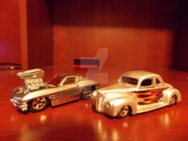 63 Vette And 40 Ford Coupe by HotCarsLadyARL-Raven