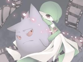 Gardevoir and Gengar by LadyOkamia