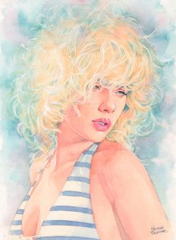 Scarlett Johansson 3rd watercolor by Trunnec