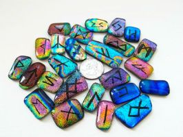 Fused Dichroic Glass Rune Set by HoneyCatJewelry