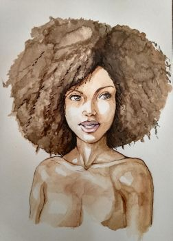 Black woman watercolor sketch by ArtofYakiNiku