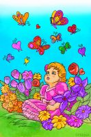 Butterflies for Meagan: In the Garden by SlayerSyrena