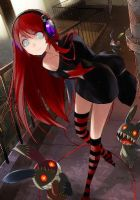 blind anime girl with red hair by renxrin
