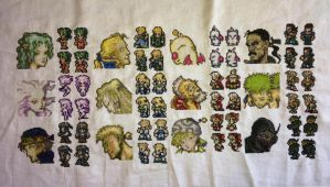 Final Fantasy 3/6 Cross stitch WIP by PolygonRainbow