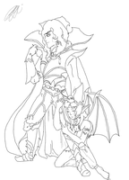 Walter and Succubus-OUTLINE by TeamAquaSuicune