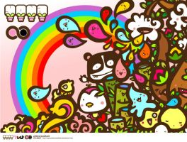 pingu panda in rainbow love by pinkversusblack