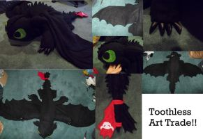 Toothless plush art trade by Krinkee