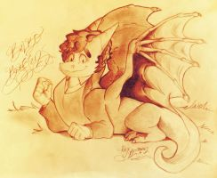 Middle-Earth: Bilbo Baggins as a Dragon by Alexbee1236