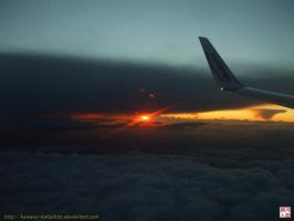 Sunset from the plane by kawano-katsuhito