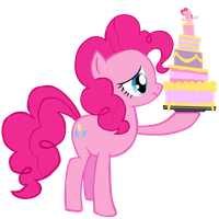 Sad Pinkie with Cake by SteamPoweredStallion