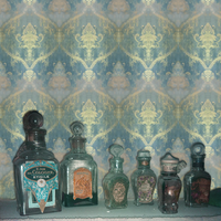 retro vintage bottles with blue gold wallpaper by archibald-butler