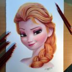Elsa Color Pencil Drawing by AtomiccircuS