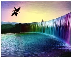 Rainbow waterfalls of dream by FiciallyOwned