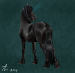 Dark Friesian Unicorn by horse-art-here