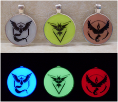 Pokemon Go - Team Glow in the Dark Pendants by heatbish