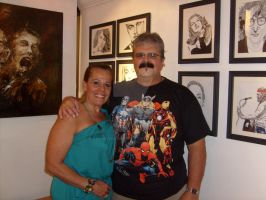 My wife and I at my exhibit. by LVMysticmirrorsart