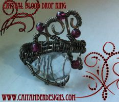 Crystal Blood Drop Ring by tanyquil