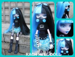 Monster high custom Kenzie cyber goth mh repaint by Rach-Hells-Dollhaus