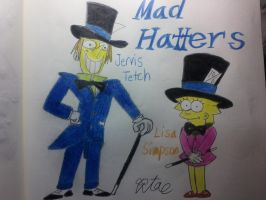 Lisa simpson and Jervis Tetch (Mad Hatters) by komi114