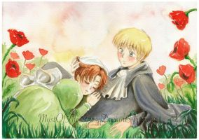 HRE and Chibitalia . poppies by MystOfTheStars