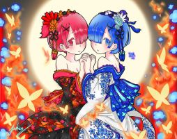 Rem and Ram (Requested) by VincasCalvii
