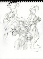 Morrigan Samus Cammy sketch by Kandoken